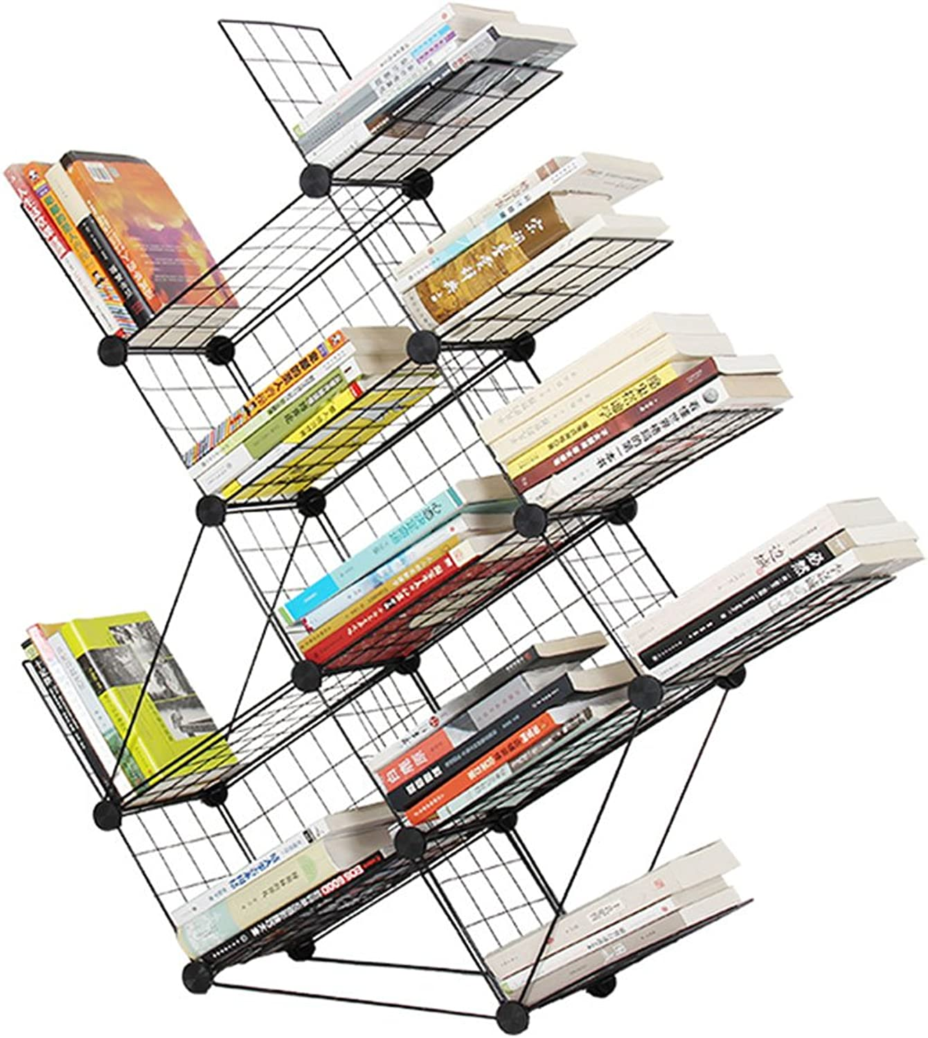 Bookcases, Cabinets Shelves Personality Simple Assembly Wrought Iron Floor Bookshelf Magazine Book Rack Imitation Tree Creative Rack Household Shelf Bookshelf That can be Moved (Removable)