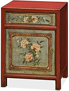 China Furniture Online Elmwood Cabinet, Tibetan Style Floral Motif Red and Blue