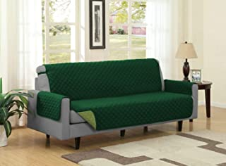 Linen Store Quilted Reversible Microfiber Pet Dog Couch Furniture Protector Cover (Sofa, Forest/Olive)