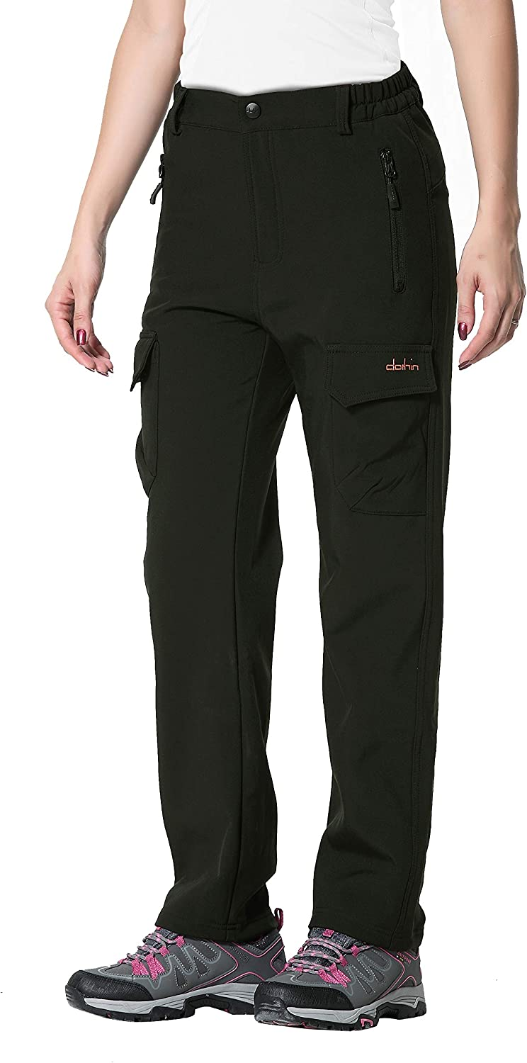 Clothin Women's FleeceLined Soft Shell Cargo Pants, Insulated, Water and WindResistant