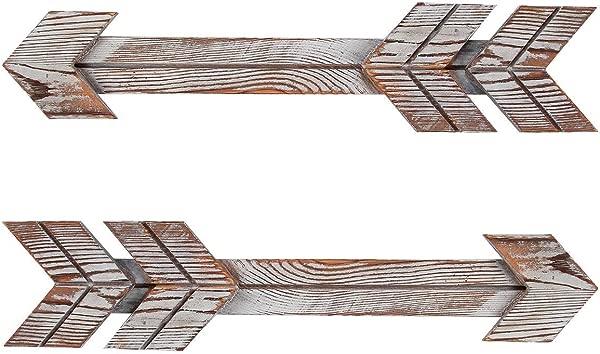 Homode Decorative Arrow Sign Rustic Wood Arrow Wall Decor Farmhouse Barnwood Wall Art Distressed Brown