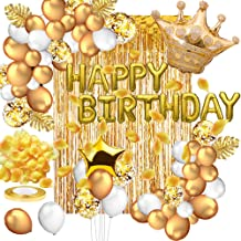 Toylin Gold Birthday Decorations Party Supplies Set, White Gold Confetti Latex Balloons Gold Curtain for Baby Shower Weddi...