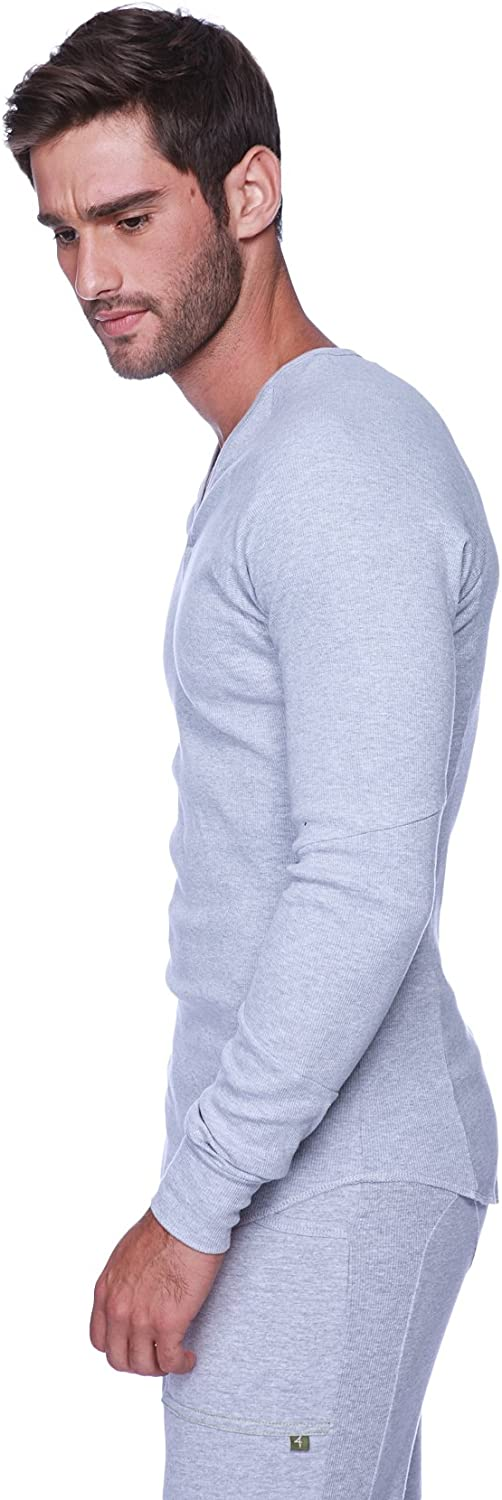 4-rth Men's Ribbed Thermal Long Max 64% OFF Sleeve Direct stock discount V-Neck Henley