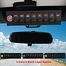 Voswitch Jeep Wrangler 2007-2018 JK & JKU Overhead 8-Switch Pod/Panel with Control and Source Box Red Backlight(Comes with 15 Laser Etched Switch Covers)