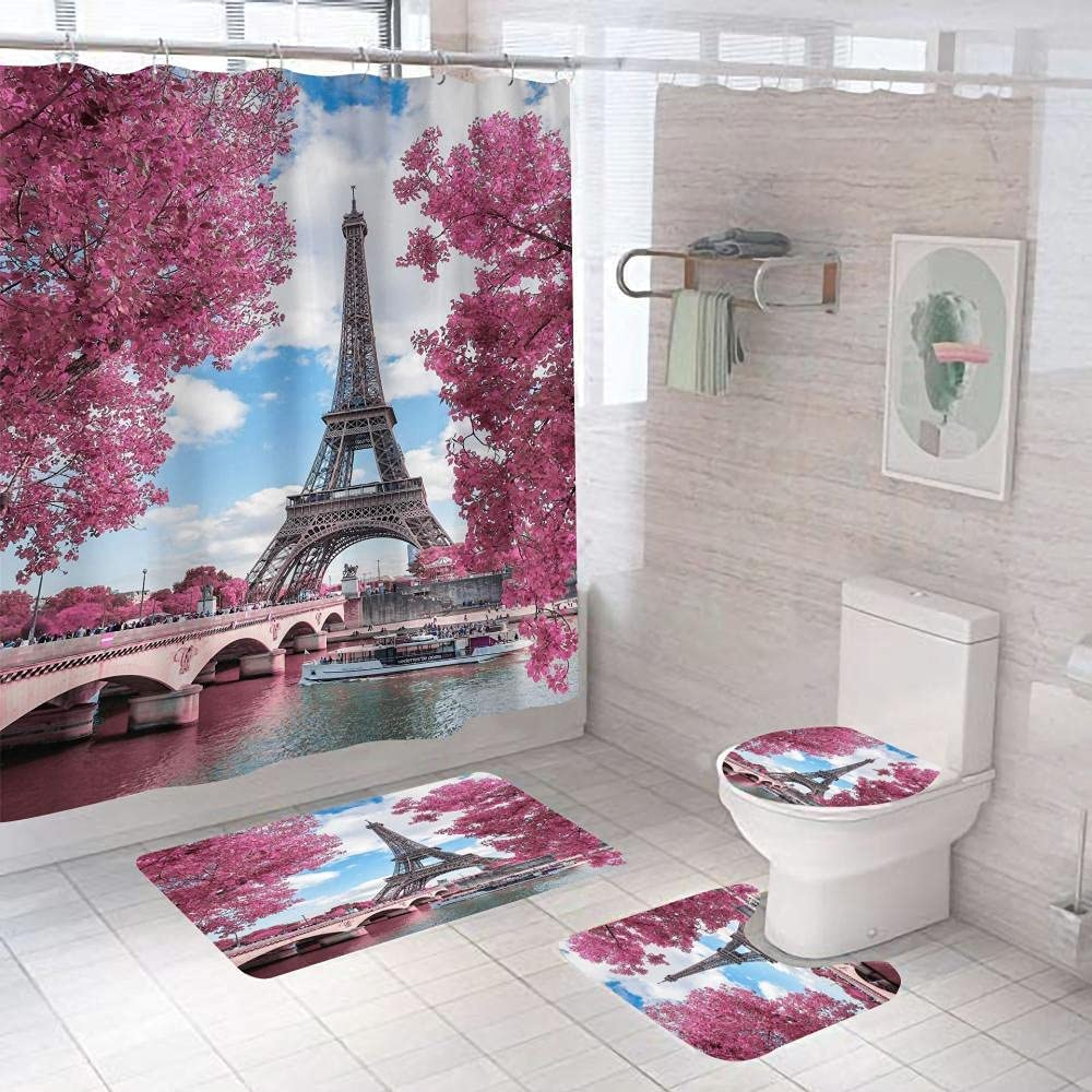 Bathroom Rugs Sets 4 Piece Colorado Springs Mall with P New York Mall Tower in Curtain Shower Eiffel