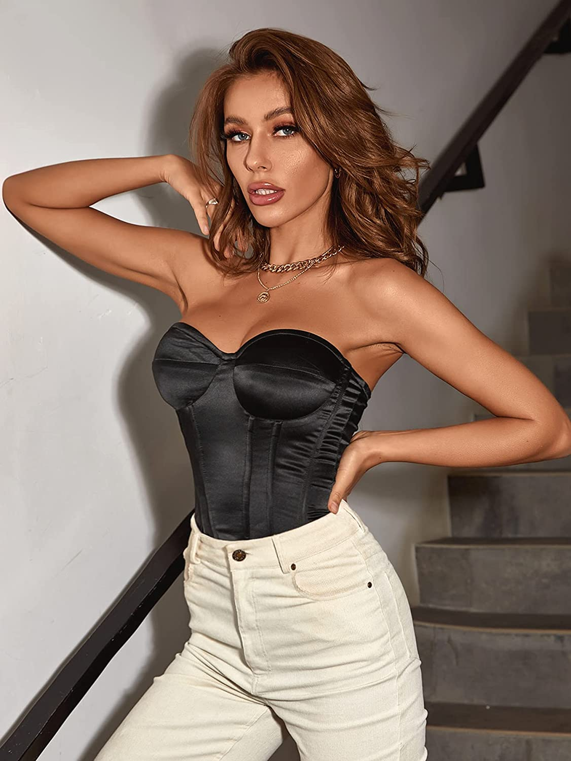 SheIn Women's Zip Backless Strapless Bustier Push Up Vest Ruched Crop Tube Tops