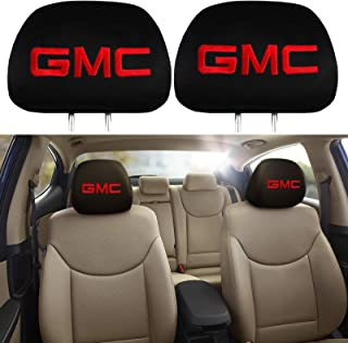PINGPING 2 Pieces of Black Embroidered GMC Logo Car Seat Headrest Covers Fit Most GMCs