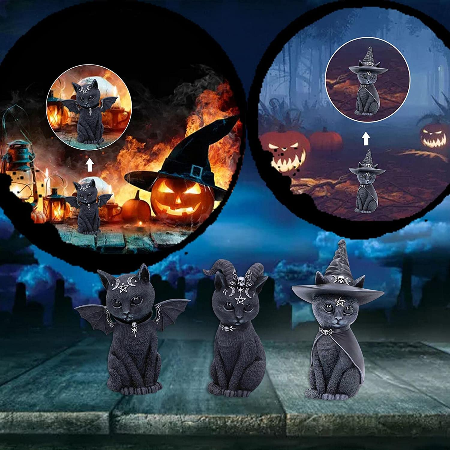 3pc wholesale Mytserious Black Cat with Bat-Wings Statue Ou Arlington Mall Halloween
