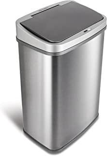 NINESTARS DZT-50-28BR Automatic Touchless Motion Sensor Oval Trash Can, Black Top, 13 Gal BR, Brush
