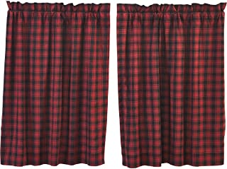 VHC Brands Rustic & Lodge Kitchen Window Curtains-Cumberland Tier Pair, L36 x W36, Chili Pepper Red