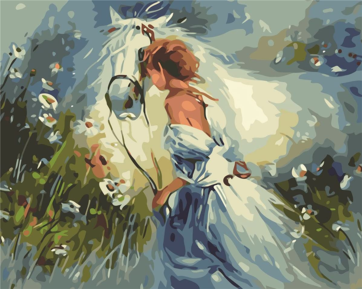 Diy Oil Painting Paint by Number Kit for Adults Beginner 16x20 inch - White Horse and Girl, Drawing with Brushes Christmas Decor Decorations Gifts (Frame)