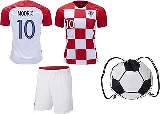Croatia Modric#10 Home/Away Youth Kit Short Sleeve Premium Gift Set Included Soccer Ball Backpack
