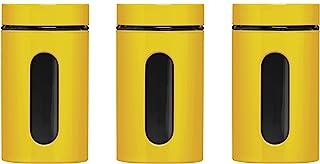 Premier Housewares 1209791 Set de 3 Bocaux à Rangement en Verre Émail Jaune 1000 ML