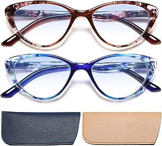 2 Pack Cat Eye Reading Glasses Blue Light Blocking Readers 1.75 Women Stylish Pattern Design Computer Game Eyeglasses with Spring Hinge