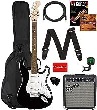 Fender Squier Stratocaster Pack Black Bundle with Padded Gig Bag, Frontman 10G Amp, Instrument Cable, Tuner, Strap, Picks,...