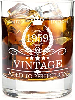 1959 60th Birthday Gifts for Men and Women Premium Whiskey Glasses - Vintage Funny 60 Years Gifts Ideas for Dad, Mom, Husband, Wife - Anniversary Gift, Party Favors, Decorations for Him or Her - 11oz