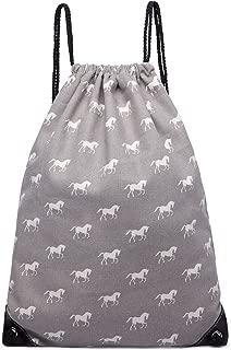 Miss Lulu Backpack School Bag Horse Canvas Rucksack Travel Shoulder Bag Fashion Daypack (Grey Drawstring Bag 1406H)