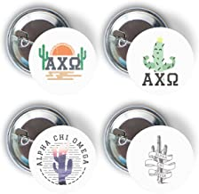 Alpha Chi Omega Sorority Cactus Desert Variety Pack of Buttons Pin Back Badge 2.25-inch AXO