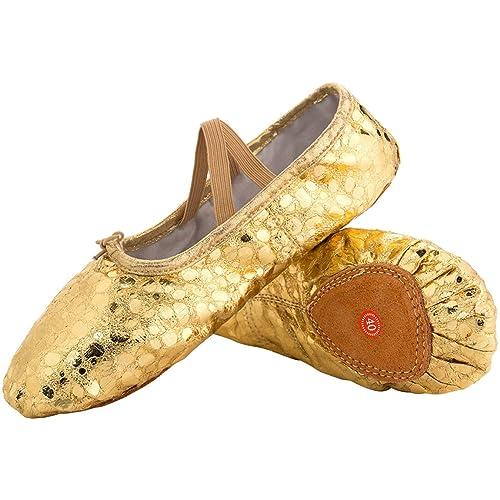 b6342120ec6b L-RUN Girl s Ballet Shoes Women s Dance Shoes Flat Dancing Slipper Canvas  Vamp Leather Sole
