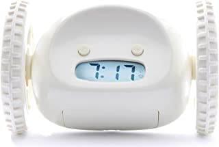 Clocky, the Original Alarm Clock on Wheels | for Adults and Kids (Best Loud for Heavy Sleeper Bed-Room) Cool, Fun Clockie Jump, Chase, Run-away, Move, Rolling (White)
