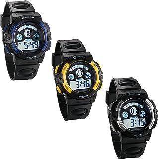 JewelryWe Montre d'Enfant Garçon Sport Electronique Chiffre Cadran 12/24H Lumineux Alarme Multifonctionnel Bracelet Plasti...