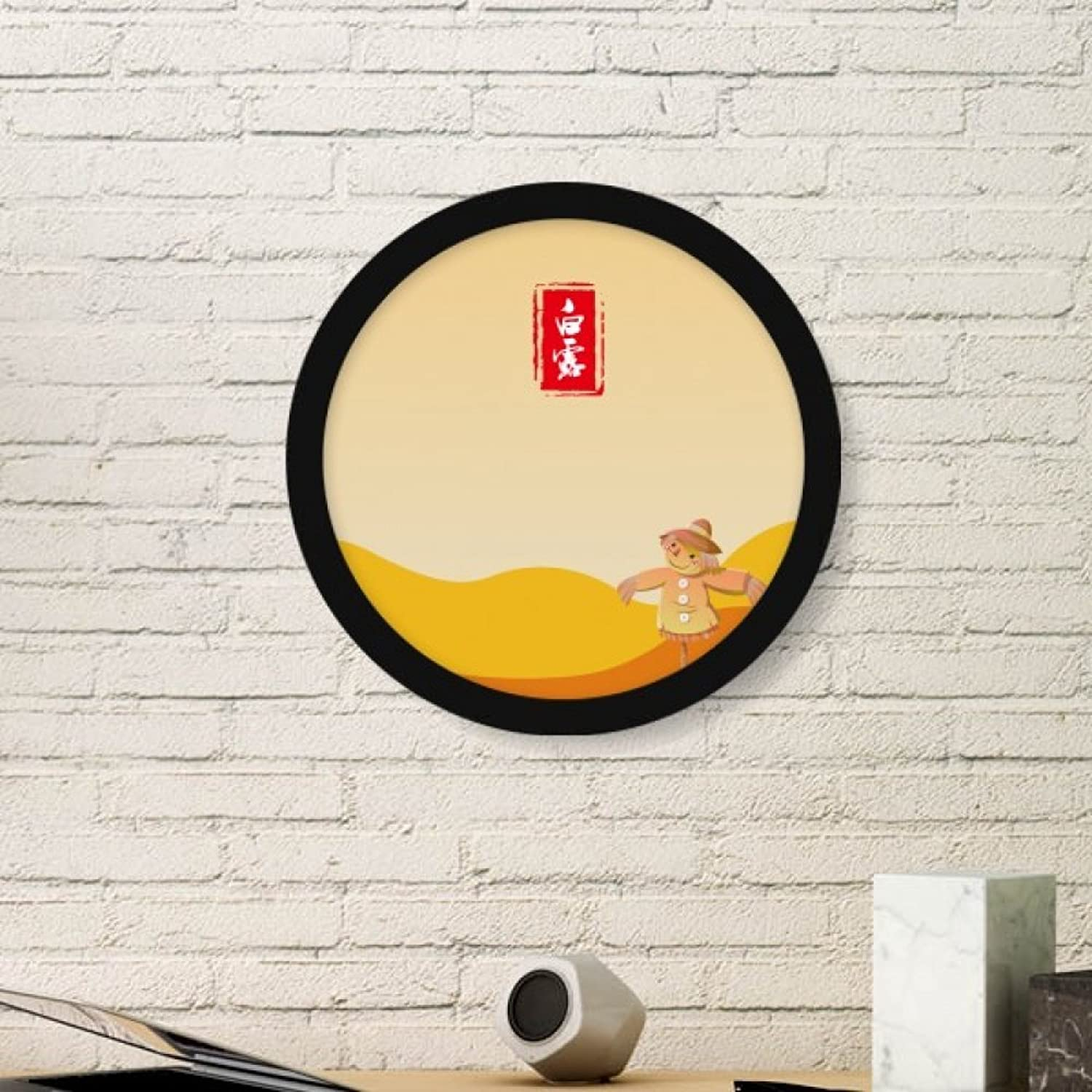 Circular White Dew Twenty Four Solar Term Art Painting Picture Photo Wooden Round Frame Home Wall Decor Gift