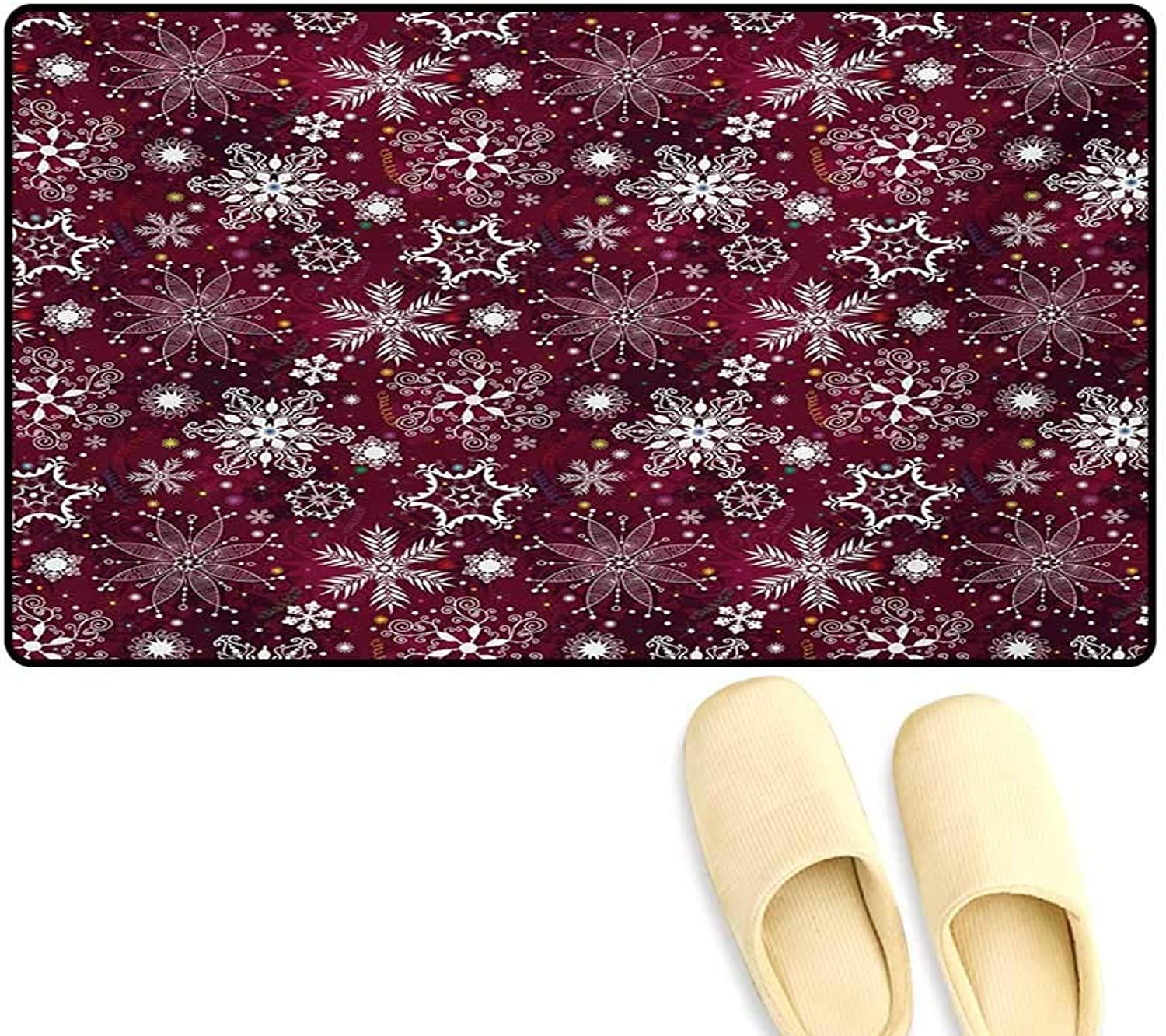 Door-mat,Floral Flakes with colorful Swirls Dots and Stars Confetti Xmas Party,Door Mats for Inside Bathroom Mat Non Slip,Maroon White Multicolor,20 x32