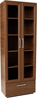 Manhattan Comfort Serra Modern Storage Bookcase With Glass Door, Nut Brown