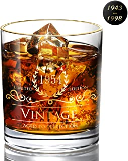 1954 65th Birthday/Anniversary Gift for Men/Dad/Son, Vintage Unfading 24K Gold Hand Crafted Old Fashioned Whiskey Glasses, Perfect for Gift and Home Use - 10 oz Bourbon Scotch, Party Decorations