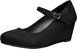 Women's Wide Width Wedge Shoes - Ankle Strap Mary Jane Dress Shoes Heel Pump