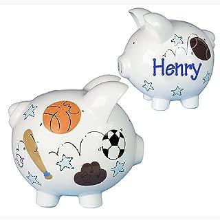 Personalized Sports Piggy Bank Hand Painted Large White Ceramic Piggybank by My Bambino - Soccer Football Basketball Baseball