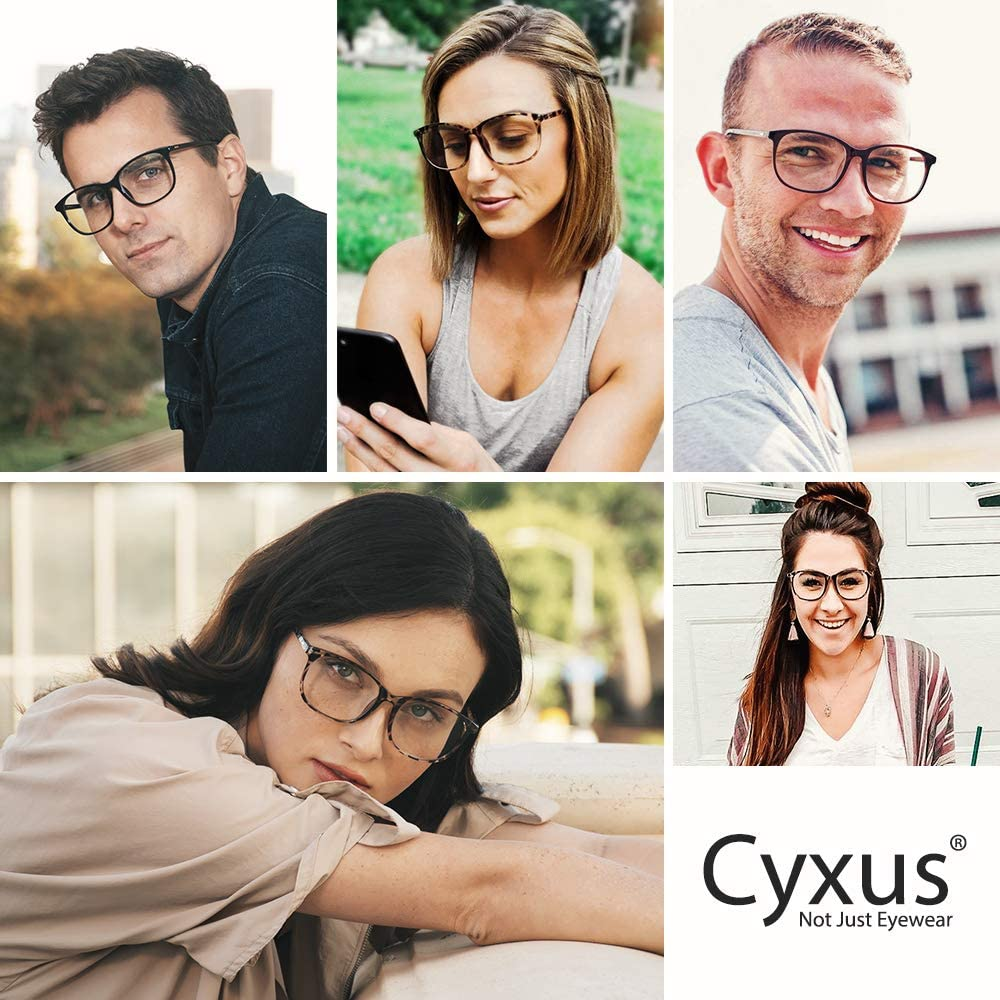 Cyxus Spring Glasses Blue Light Filter Glasses Square Frame Computer Eyewear Clear Lens Leopard Eyeglasses Frame
