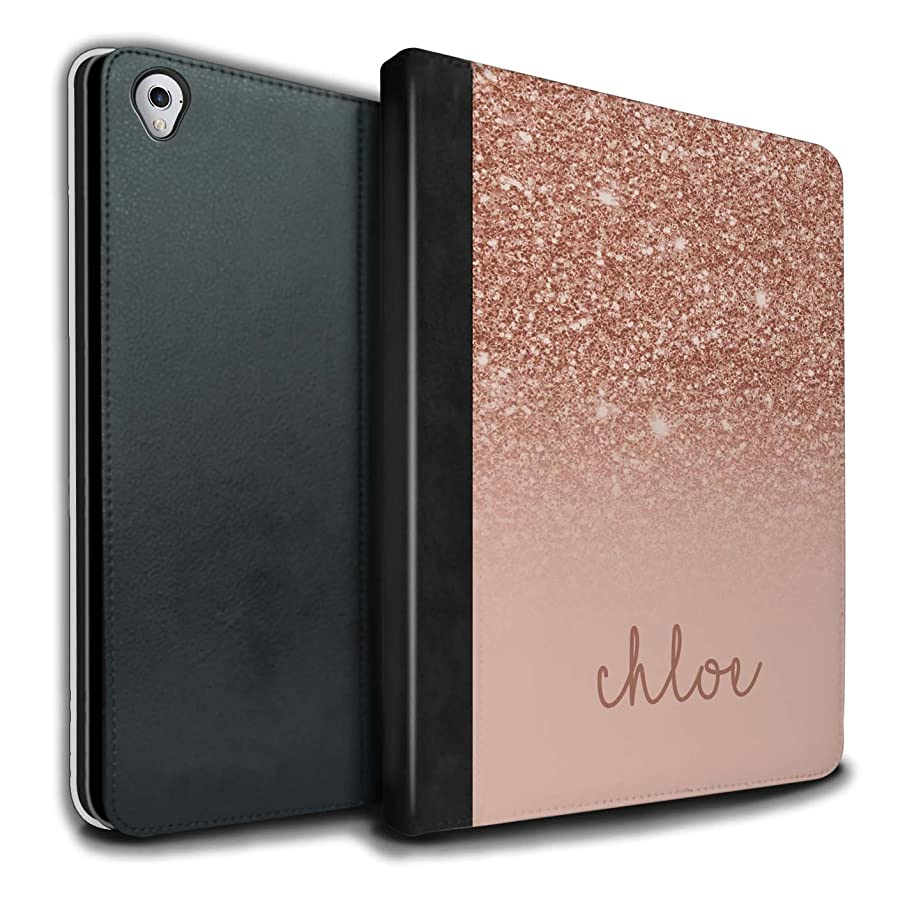 Personalized Custom Glitter Effect PU Leather Case for Apple iPad Pro 9.7 / Rose Gold Design/Initial/Name/Text DIY Tablet Book Cover