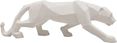 LOOYAR Geometric Resin Leopard Statue Sculpture Ornament Collectible Figurine Craft Furnishing for Home Décor House Living Ro