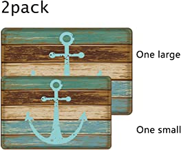 Nautical Anchor Bathroom Rug, Uphome Vintage Retro Flannel Microfiber Turquoise and Brown Non-slip Soft Absorbent Bath Rug Kitchen Floor Mat Carpet (1 pc16