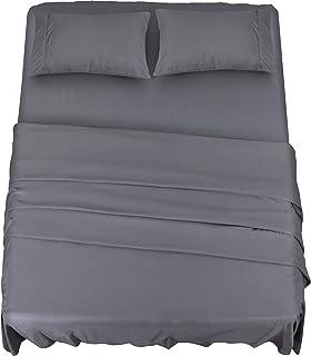 Utopia Bedding Ensemble de Draps en Microfibre - Drap Plat, Drap Housse et 2 Taie d'oreiller - (pour Lit 135 x 190 cm, Gris)