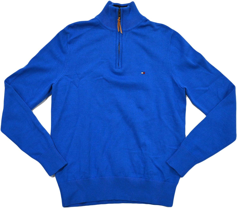 Tommy Hilfiger Mens Half Zip Mock Neck Sweater