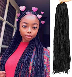 20 Inch 8 Packs Long Box Braids Crochet Braids Synthetic Crochet Hair Box Braid Hair Extension Black Color (20 Inch, 1B)