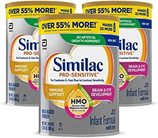 Similac Pro-Sensitive Non-GMO Infant Formula with Iron, with 2'-FL HMO, for Immune Support, Baby Formula, Powder, 2.18 Lb ...
