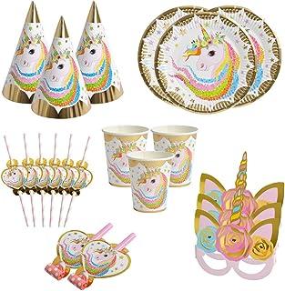 BETOY Set di articoli per feste unicorno e set di stoviglie 36 pezzi, kit di decorazioni di compleanno per ragazze - Tovag...