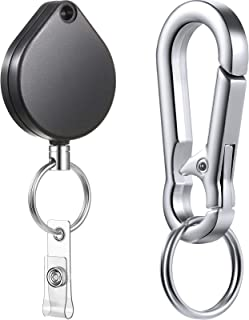 Porte-Clés Rétractable Porte-Bobine de Badge Rétractable, Clip d'Identification de Badge pour Porte-Clés de Carte d'Identi...