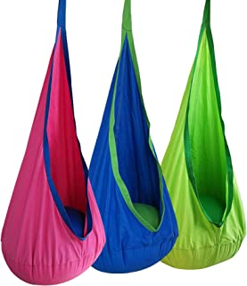 Kids Pod Swing Seat Hammock 100% Cotton Child Hammock Chair for Indoor Outdoor Hanging Seat Hammock All Accessories Includ...