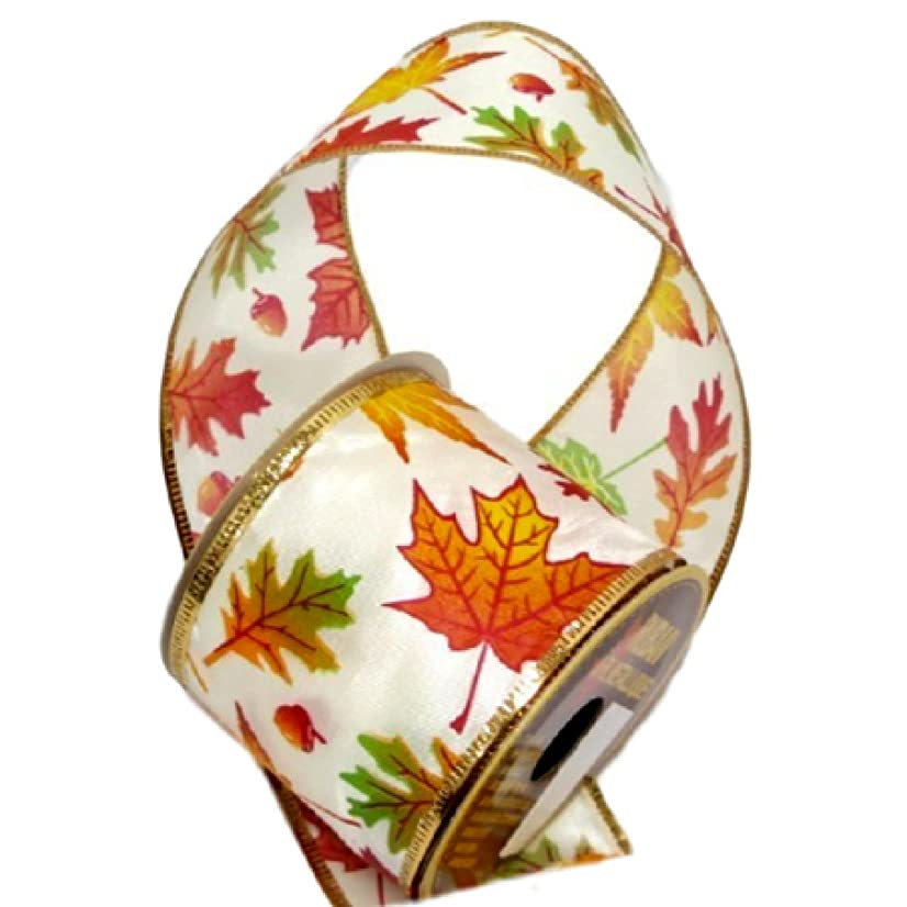Autumn Theme Wire-Edged Ribbon 2.5 Inches Wide by 9 Feet Leaf Design 1 Roll