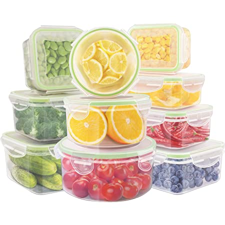 Food Storage Containers,UMUM Plastic Meal Prep Containers with Lids,Airtight- Freezer & Microwave Safe,BPA-Free Food Containers Sets,10 PCS