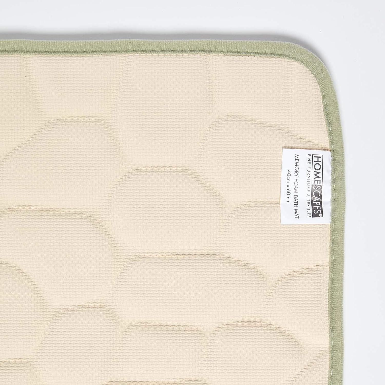 HOMESCAPES 40 x 60 cm Tapis de Bain Vert Sauge /à m/émoire de Forme et reliefs Galet