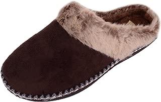 ABSOLUTE FOOTWEAR Womens Slip On Microsuede Mules/Slippers/Indoor Shoes with Faux Fur Trim