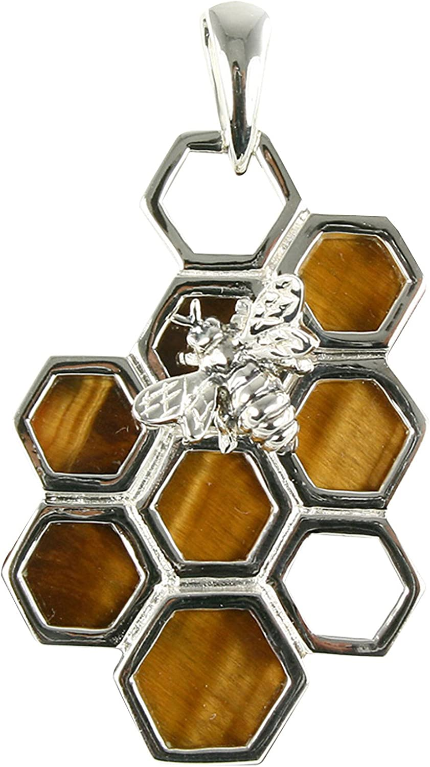 Unique Tiger's Outlet sale feature Eye Year-end annual account Bee on Silver Sterling Honeycomb Pendant