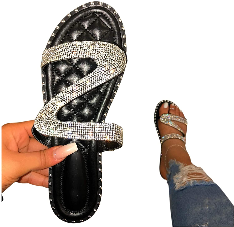 Xudanell Womens Sandals Sparkly Rhinestone Slides Slip On Glitter Bling Diamond Casual Summer Dressy Sandals for Women