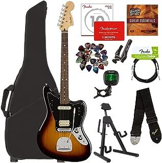 Fender Player Jaguar, Pau Ferro - 3-Color Sunburst Bundle with Gig Bag, Stand, Cable, Tuner, Strap, Strings, Picks, Capo, Fender Play Online Lessons, and Austin Bazaar Instructional DVD