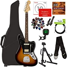 Fender Player Jaguar, Pau Ferro - 3-Color Sunburst Bundle with Gig Bag, Stand, Cable, Tuner, Strap, Strings, Picks, Capo, Fender Play Online Lessons, and Austin Bazaar Instructional DVD